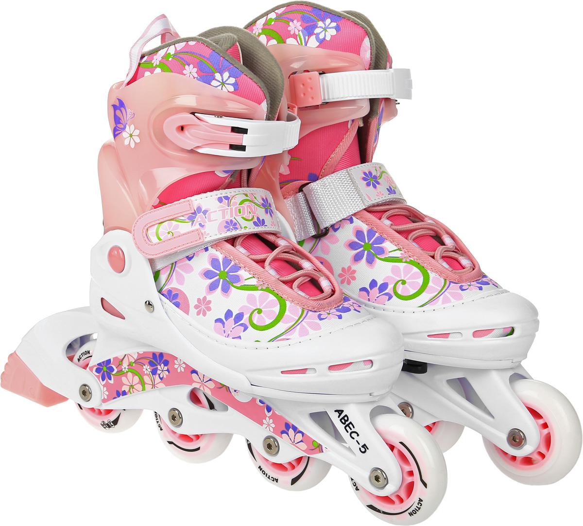 Коньки роликовые Action  PW-717 , раздвижные, цвет: белый, розовый, фиолетовый. Размер 34/37 - Ролики