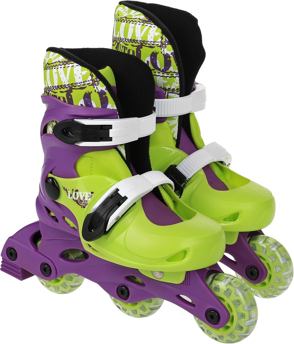Коньки роликовые Action  PW-127 , раздвижные, цвет: фиолетовый, светло-зеленый, белый. Размер 31/34 - Ролики