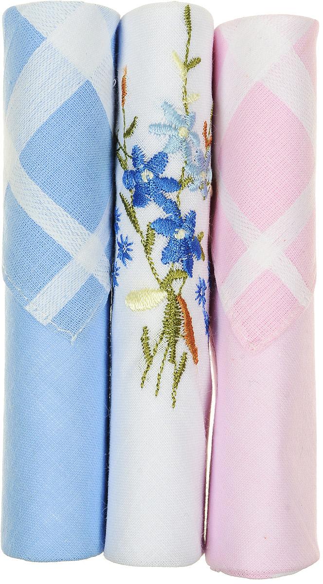 Платок носовой женский Zlata Korunka, цвет: голубой, белый, розовый, 3 шт. 40423-52. Размер 28 см х 28 см
