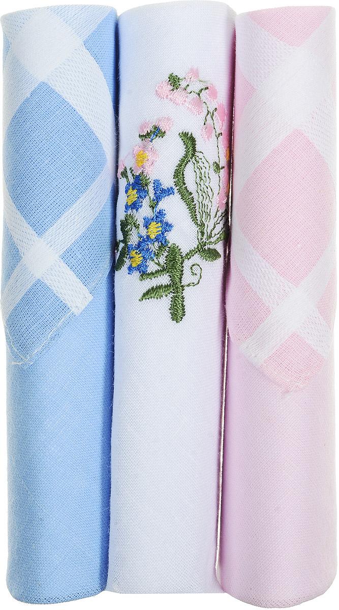 Платок носовой женский Zlata Korunka, цвет: голубой, белый, розовый, 3 шт. 40423-132. Размер 28 см х 28 см