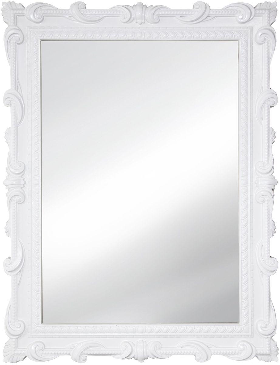 Зеркало VezzoLLi Тениа, цвет: белый, 72 х 94 см12-49С обратной стороны зеркало снабжено тремя металлическими подвесами для возможности разместить его и вертикально и горизонтально. Видимый размер зеркала 73х51 см.