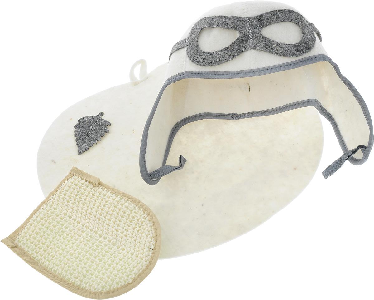 """Набор для бани и сауны Главбаня """"Пилот"""" состоит из  необходимых аксессуаров для того, чтобы банный поход  принес вам только радость.  В набор входят:  - Шапка из войлока, выполненная в виде летного шлема. Это  незаменимая вещь в парной. Она необходима для  того, чтобы не перегреть голову.  - Мочалка средней жесткости из крапивы и хлопка. Оказывает  нежное массажное и прекрасное отшелушивающее  воздействие на кожу. - Коврик из войлока, украшенный аппликацией в виде  листочка. Он убережет вас от горячей полки и защитит в  общественной бане.  Размер коврика: 43 х 34 см.  Размер мочалки: 19 х 15,5 см. па Высота шапки: 34 см."""