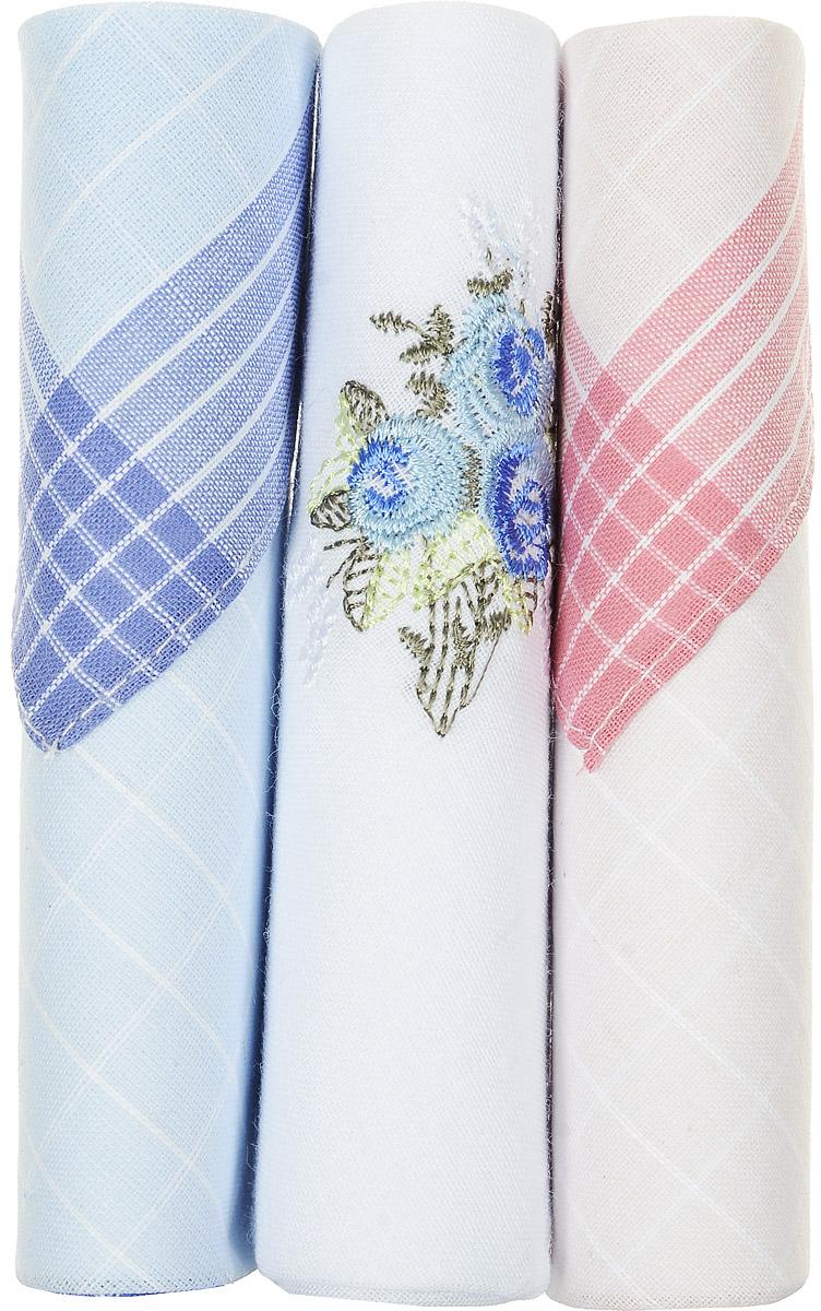 Платок носовой женский Zlata Korunka, цвет: голубой, белый, розовый, 3 шт. 40423-17. Размер 28 см х 28 см