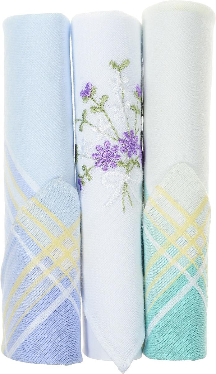 Платок носовой женский Zlata Korunka, цвет: бирюзовый, белый, голубой, 3 шт. 40423-66. Размер 28 см х 28 см