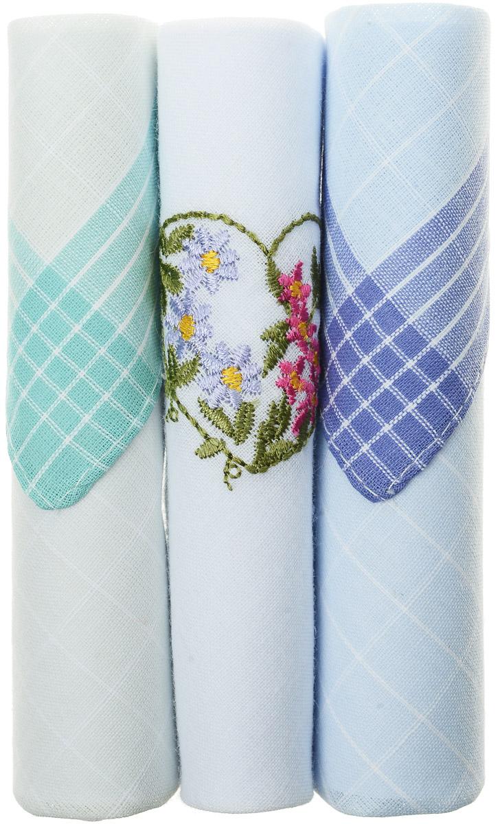 Платок носовой женский Zlata Korunka, цвет: бирюзовый, белый, голубой, 3 шт. 40423-44. Размер 28 см х 28 см