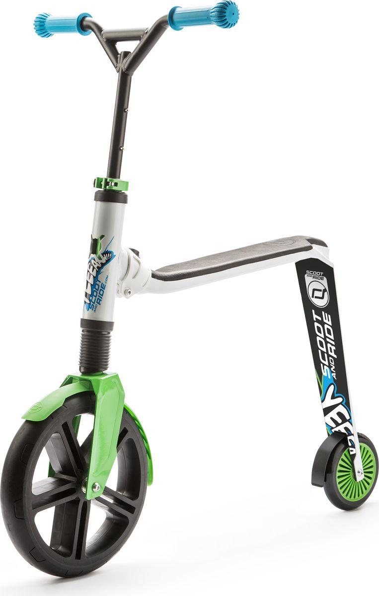 Scoot&Ride Самокат-беговел Highway Gangster 2 в 1 цвет белый зеленый - Беговелы