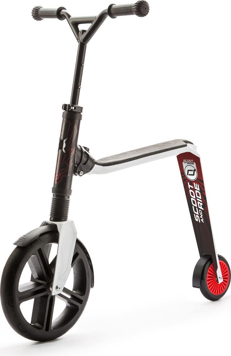 Scoot&Ride Самокат-беговел Highway Gangster 2 в 1 цвет белый черный красный - Беговелы
