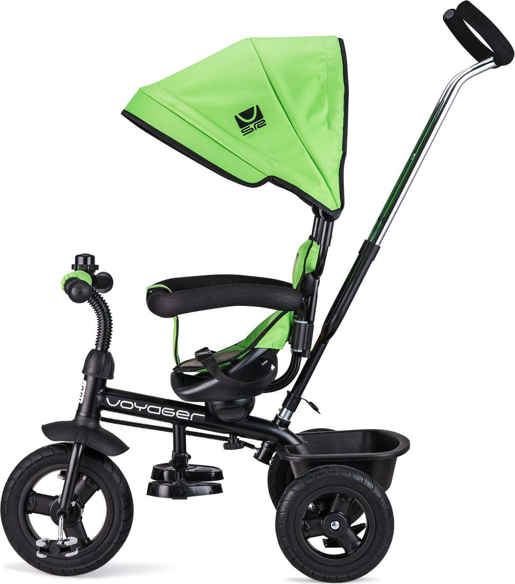 """Превратите каждую прогулку в """"Вояж"""" или """"Путешествие""""!  Small Rider  - это комфортный трехколесный велосипед нового поколения,  воплотивший в себе все современные функции и высокие требования к комфорту ребенка.  Стильный дизайн европейского уровня.  Трехколесный велосипед является и детским транспортом, и модным аксессуаром,  подчеркивающим ваш стиль на прогулке. Красота линий велосипеда радует глаз,  акцентирует фокус на легкости и спортивности, воплощает лаконичность и изящество  формы.  Бескамерные покрышки.  Колеса у велосипеда имеют специальные бескамерные покрышки, которые по внешнему  виду и ощущениям абсолютно идентичны надувным, но при этом не требуют подкачки и  не прокалываются. Колесо все время как бы """"максимально накачано"""".   Это современный тип колес, который объединил в себе все преимущества надувных и  ПВХ колес, ведь колеса катятся плавно и мягко, не требуя ухода в будущем.   Элегантные матовые диски смотрятся премиально и основательно.   Сиденье вращается и может быть в двух положениях.  Сиденье вращается на 360 градусов и может быть установлено в положениях как """"лицом к  дороге"""", так и """"лицом к маме"""".  Если малыш спокоен и настроен на познание мира вокруг, направьте сиденье и ребенка  лицом вперед. Это захватывающе и увлекательно для маленького наездника. А если  ребенок будет не в духе и потребуется мамина поддержка - поверните малыша лицом к  маме, так ему будет спокойнее.   Внимание! Задние колеса у велосипеда легко снимаются без ключа. Для этого нужно  нажать на две кнопки и потянуть.   Подножка, помимо функции сложения, имеет 3 уровня высоты.   Высокая безопасность.    Для обеспечения безопасности ребенка у велосипеда есть и защитный бампер-ограждение,  который раскрывается в стороны - с накладкой-рукавом из ПВХ поверх (чтобы ребенок не  слюнявил поручень), и специальный ограничитель от соскальзывания вниз посередине,  помещаемый между ножек ребенка.    Глубокий капюшон-капор, сделанный из водонепроницаемой плотной ткани Poly Oxford  600D, з"""