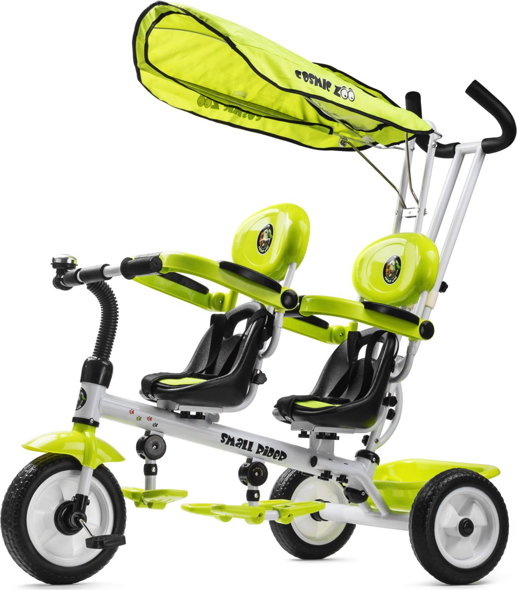Small Rider Велосипед трехколесный для двоих детей Cosmic Zoo Twins цвет лайм -  Велосипеды-каталки
