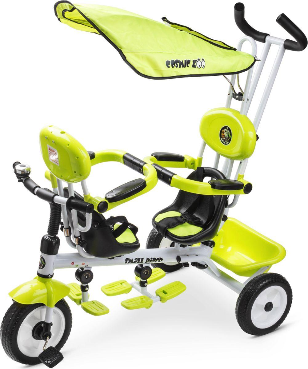 Small RiderВелосипед трехколесный для двоих детей Cosmic Zoo Twins цвет лайм Small Rider