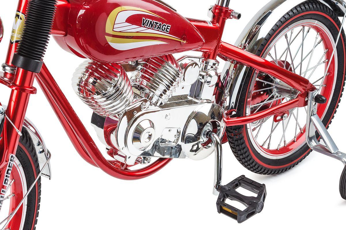 Шикарный и привлекающий взгляды.   При первом взгляде на Small Rider Motobike Vintage даже не верится, что это детский велосипед. Он выглядит завораживающе и шикарно.   Это,скорее, коллекционный мотоцикл в уменьшенном размере. Все в нем сверкает, блестит и переливается, подчеркивая дороговизну каждого элемента.   Стилизация поражает правдоподобностью - мотор, бензобак, спидометр, амортизаторы, сиденье с клепками, фонарь, зеркальца - все как у настоящего мотоцикла!   Обучающий детский велосипед.   Несмотря на свое великолепие, Мотобайк Винтаж имеет традиционный функционал детского велосипеда и легко приводится в движение с помощью педалей.   Очень важно - в комплекте идут поддерживающие колесики, которые помогут ребенку привыкнут к велосипеду и научиться одновременно рулить и крутить педали. Он подойдет детям уже с 4-х лет.   Так что, Small Rider Motobike Vintage - отличный вариант, чтобы научиться кататься на велосипеде, причем сделать это с шиком, вызвав удивление и белую зависть в парке или на детской площадке!   Безопасность и удобство.   За безопасность, опять-таки, отвечают дополнительные съемные боковые колесики, а также два тормоза: ручной и ножной.   Повышенный комфорт.   Помимо эстетического удовольствия от взгляда на велосипед и обладания им, Мотобайк Винтаж еще и комфортно водить.   Надувные резиновые колеса 16-радиуса на спицах бесшумно и плавно катятся, комфортное большое мягкое сиденье имеет еще и спинку!   Высота сиденья может регулироваться под рост Вашего ребенка.   Катание в удовольствие.   В отличие от традиционных (скучных) двухколесных велосипедов катание на Small Rider Motobike Vintage добавит новую искорку, превратит езду в игру в байкеров или путешествие по хайвэю.