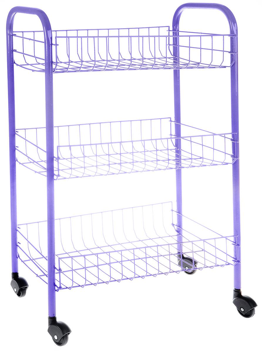 Этажерка Metaltex Siena Color, 3-уровневая, цвет: фиолетовый, 41 x 23 x 63 см34.06.33-138_фиолетовыйЭтажерка Metaltex Siena Color с тремя полками выполнена из высококачественной стали, окрашенной краской, содержащей эпоксидный порошок. Очень удобная и компактная, но в то же время вместительная, она прекрасно впишется в пространство любого помещения. Ее можно установить в ванной комнате, и ваши шампуни, гели для душа и различные крема всегда будут под рукой; на кухне этажерку можно использовать для хранения посуды и продуктов. Благодаря пластиковым колесикам этажерку можно перемещать в любую сторону без особых усилий.Размер этажерки (в собранном виде): 41 х 23 х 63 см.