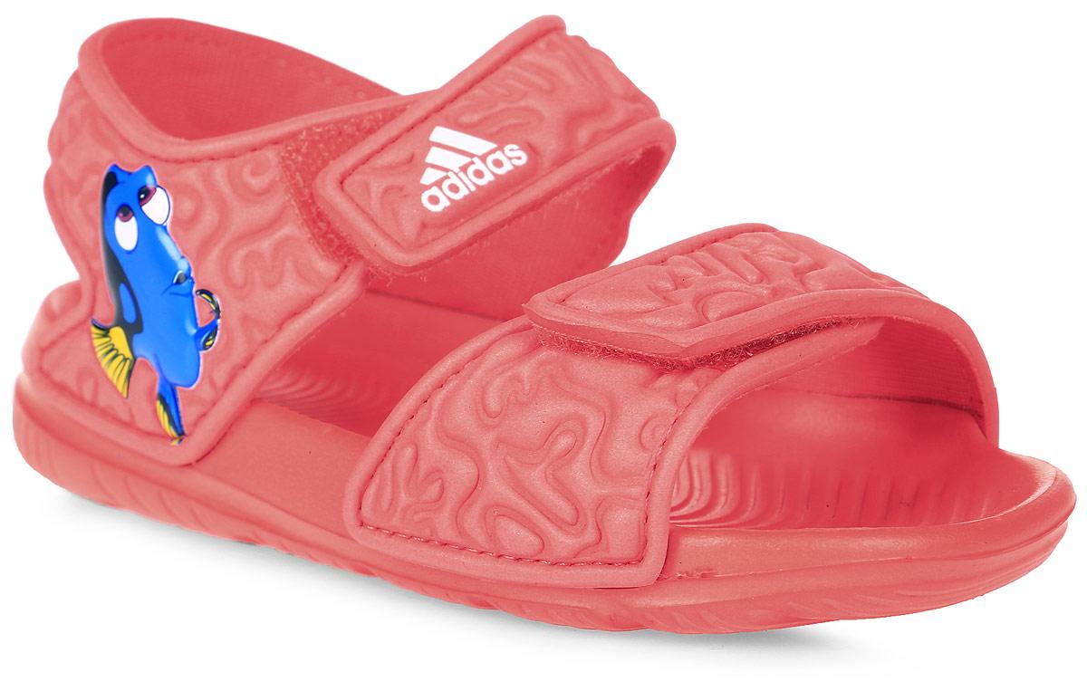 Сандалии для девочки adidas Disney Nemo AltaSwi, цвет: оранжевый. BA9327. Размер 25BA9327В этих очаровательных пляжных сандаликах с осьминогом Хэнком из мультфильма В поисках Дори малышам будет удобно играть у бассейна или на берегу моря. Текстильная подкладка обеспечивает комфорт маленьким ножкам, а мягкие ремешки на липучке облегчают надевание и снимание.