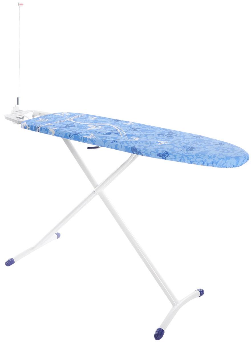 Доска гладильная Leifheit Airboard Premium M Plus, с электроподключением, цвет: синий, белый, голубой, 120 х 38 см72564_синий/бабочкиГладильная доска Leifheit Airboard Premium M Plus станет незаменимой помощницей в глажении белья. Очень существенная особенность - это ее легкий вес, доска на 25% легче аналогичных досок благодаря гладильной поверхности из вспененного пластика. Поверхность Thermoreflect позволяет гладить на 33% быстрее. Благодаря отражающей поверхности белье гладится сразу с двух сторон. Доска имеет фиксированную подставку для утюга с электроподключением и держателем для кабеля.На ножках имеются пластиковые накладки, не царапающие пол, а также система выравнивания пола - для перепада высоты до 1 см. Новый механизм регулировки высоты, обеспечивающий большую безопасность и устойчивость.Размер рабочей поверхности: 120 х 38 см.Регулировка по высоте: 75-98 см.