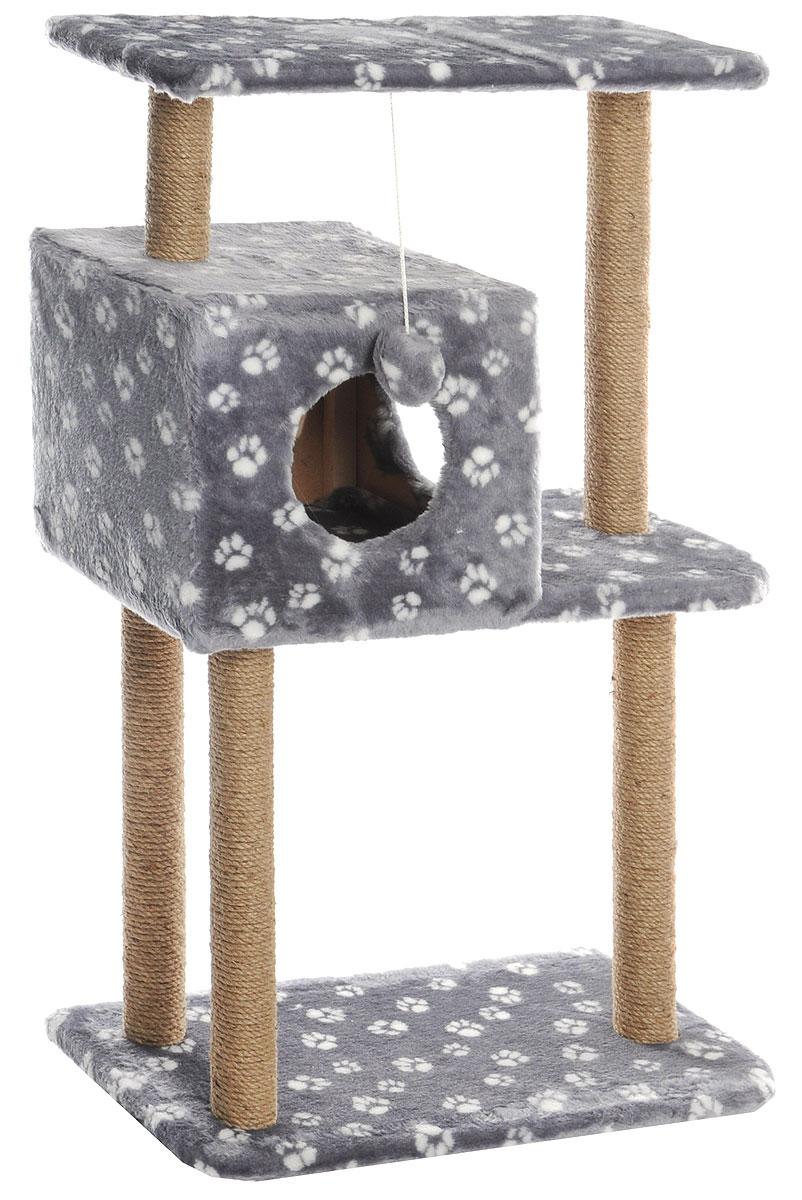 Домик-когтеточка Меридиан, квадратный, трехэтажный, с полкой, цвет: серый, белый, бежевый, 65 х 36 х 105 смД134_серый, белый лапкиДомик-когтеточка Меридиан выполнен из высококачественного ДВП и ДСП и обтянут искусственным мехом. Изделие предназначено для кошек. Комплекс имеет 3 яруса. Ваш домашний питомец будет с удовольствием точить когти о специальные столбики, изготовленные из джута. А отдохнуть он сможет либо на полках, либо в расположенном вверху домике. Изделие снабжено подвесной игрушкой. Домик-когтеточка Меридиан принесет пользу не только вашему питомцу, но и вам, так как он сохранит мебель от когтей и шерсти.Общий размер: 65 х 36 х 105 см.Размер домика: 36 х 35 х 32 см.Размер верхней полки: 65 х 31 см.