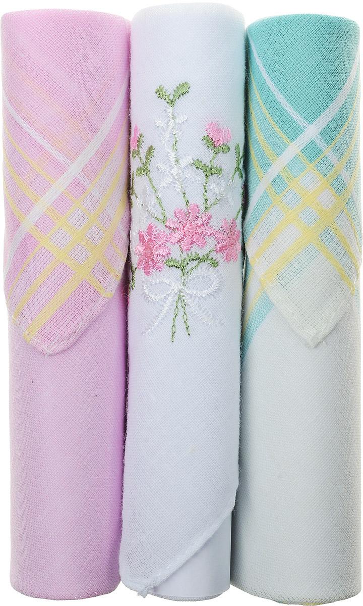 Платок носовой женский Zlata Korunka, цвет: розовый, белый, бирюзовый, 3 шт. 40423-65. Размер 28 см х 28 см