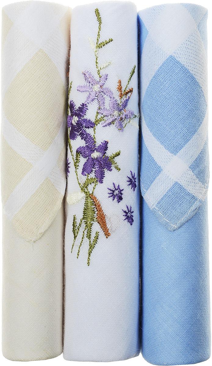 Платок носовой женский Zlata Korunka, цвет: бежевый, белый, голубой, 3 шт. 40423-53. Размер 28 см х 28 см