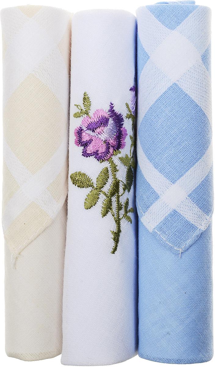 Платок носовой женский Zlata Korunka, цвет: бежевый, белый, голубой, 3 шт. 40423-86. Размер 28 см х 28 см