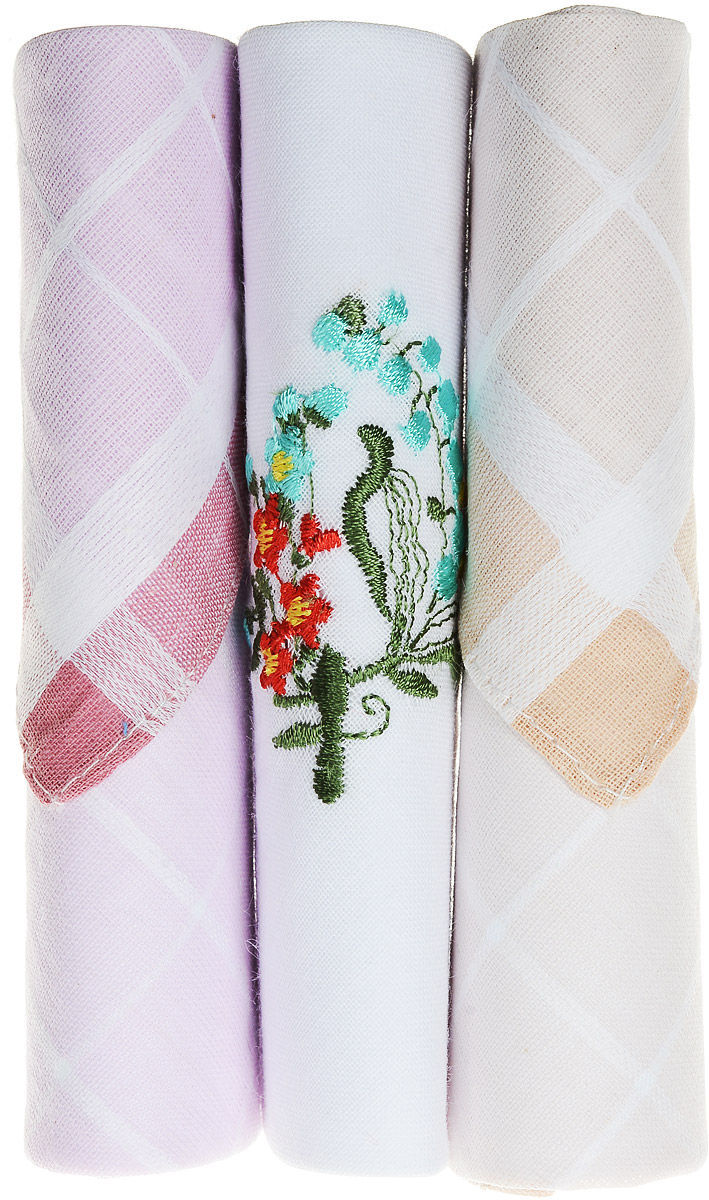 Платок носовой женский Zlata Korunka, цвет: розовый, белый, бежевый, 3 шт. 40423-122. Размер 28 см х 28 см