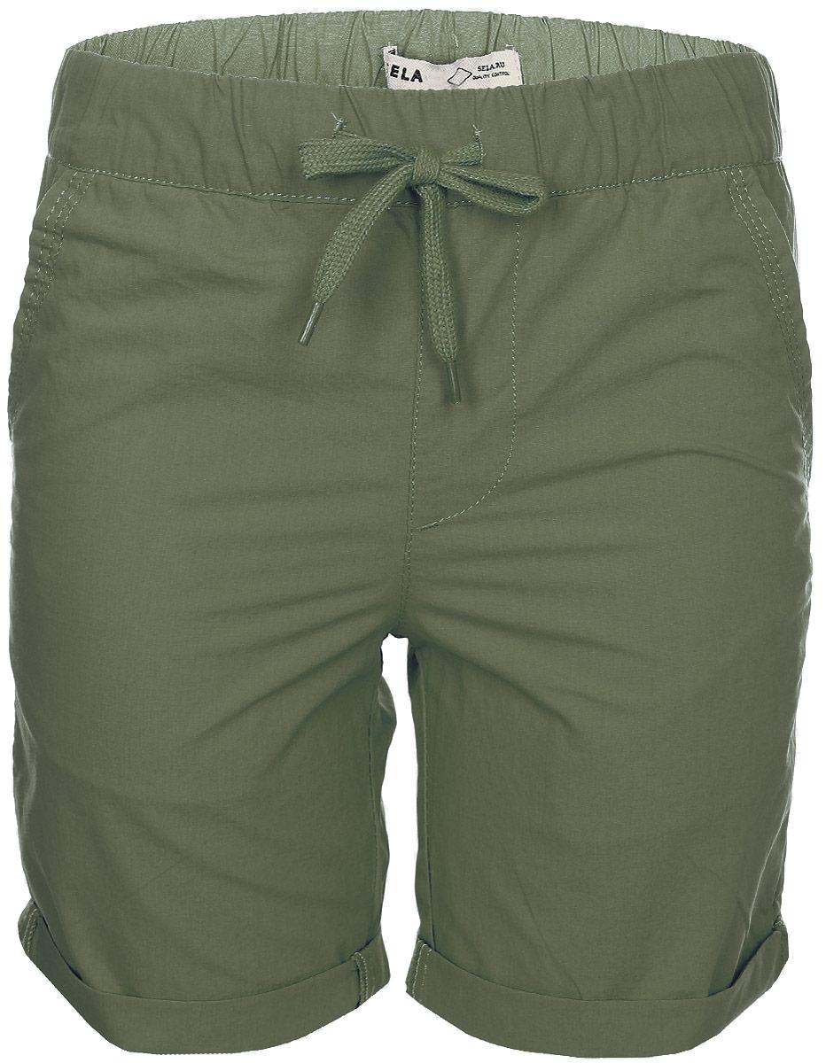 Шорты для мальчика Sela, цвет: серо-оливковый. SH-815/320-7215. Размер 122SH-815/320-7215Стильные шорты для мальчика Sela, изготовленные из натурального хлопка, станут отличным дополнением гардероба в летний период. Шорты прямого кроя и стандартной посадки на талии имеют пояс на мягкой резинке, дополнительно регулируемый шнурком. Модель дополнена двумя втачными карманами спереди и двумя накладными карманами сзади.