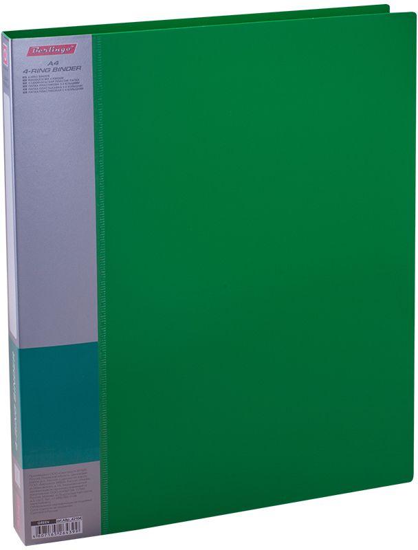 Berlingo Папка на 4-х кольцах Standard цвет зеленыйABp_42104Папка на 4-х кольцах Standard, предназначенная для хранения перфорированных документов, изготовлена из плотного пластика. Кольцевой механизм надежно держит документы и файлы. Сменная этикета на корешке позволяет маркировать содержимое. На внутренней стороне обложки размещен карман для записей.Такая папка станет вашим надежным помощником, она защитит документы от повреждения, пыли и влаги.