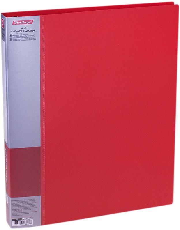 Berlingo Папка на 4-х кольцах Standard цвет красныйABp_42103Папка на 4-х кольцах Berlingo Standard для хранения перфорированных документов изготовлена из пластика. Кольцевой механизм надежно держит документы и файлы. В корешок папки вставляется лист для описания и названия.