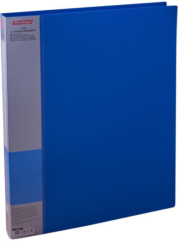 Berlingo Папка на 4-х кольцах Standard цвет синийABp_42102Папка на 4-х кольцах Standard, предназначенная для хранения перфорированных документов, изготовлена из плотного пластика. Кольцевой механизм надежно держит документы и файлы. Сменная этикета на корешке позволяет маркировать содержимое. На внутренней стороне обложки размещен карман для записей.Такая папка станет вашим надежным помощником, она защитит документы от повреждения, пыли и влаги.