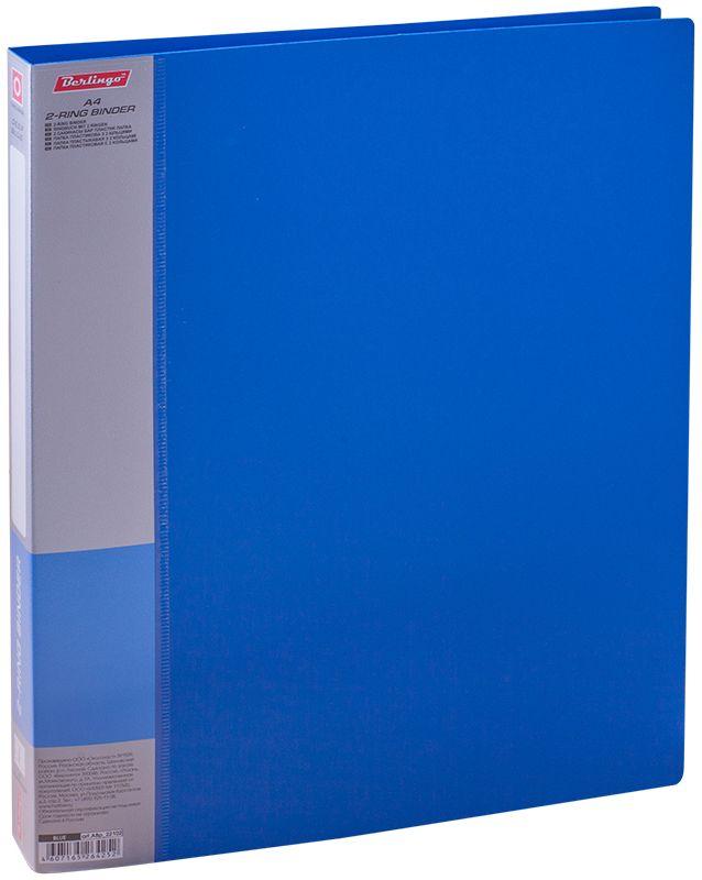 Berlingo Папка на 2-х кольцах Standard цвет синийABp_22102Папка на 2-х кольцах Standard для хранения перфорированных документов изготовлена из пластика. Кольцевой механизм надежно держит документы и файлы. В корешок папки вставляется лист для описания и названия. Классические офисные цвета в ассортименте.