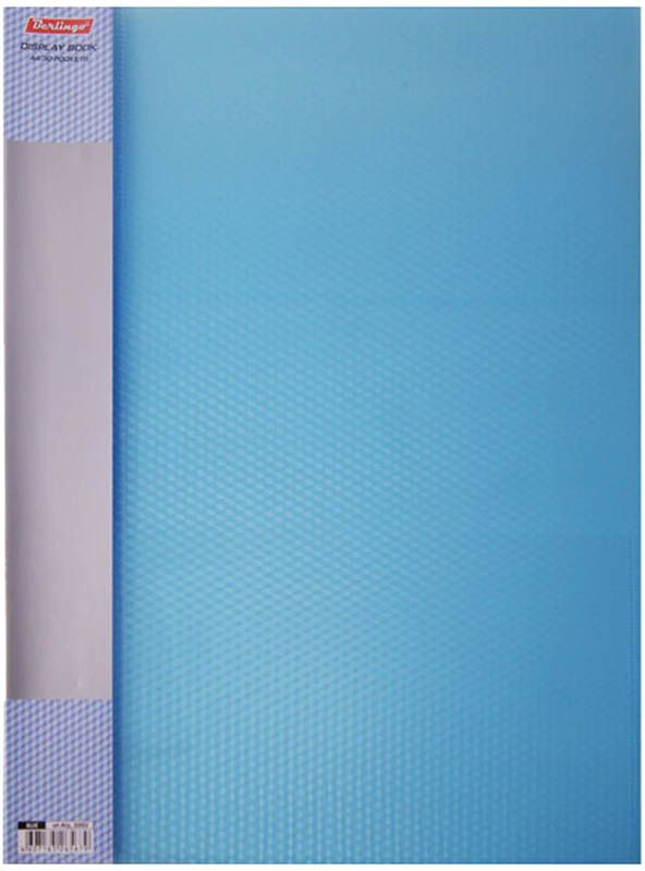 Berlingo Папка Diamond с 30 вкладышами цвет синийAVp_30002Функциональная папка с прозрачными вкладышами удобна для хранения и демонстрации документов А4. На папке предусмотрена сменная этикетка на корешке для маркировки. Изготовлена из фактурного полупрозрачного пластика.Ширина корешка - 17 мм.