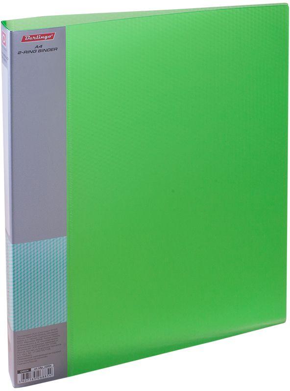 Berlingo Папка на 2-х кольцах Diamond цвет зеленыйABp_22004Папка на 2-х кольцах Diamond для хранения перфорированных документов изготовлена из пластика. Кольцевой механизм надежно держит документы и файлы. В корешок папки вставляется лист для описания и названия. Классические офисные цвета в ассортименте. Обложка папки оформлена легким голографическим принтом в кубик.