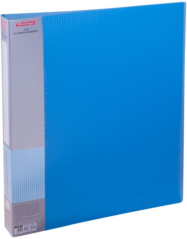 Berlingo Папка на 2-х кольцах Diamond цвет синийABp_22002Папка на 2-х кольцах Diamond для хранения перфорированных документов изготовлена из пластика. Кольцевой механизм надежно держит документы и файлы. В корешок папки вставляется лист для описания и названия. Классические офисные цвета в ассортименте. Обложка папки оформлена легким голографическим принтом в кубик.