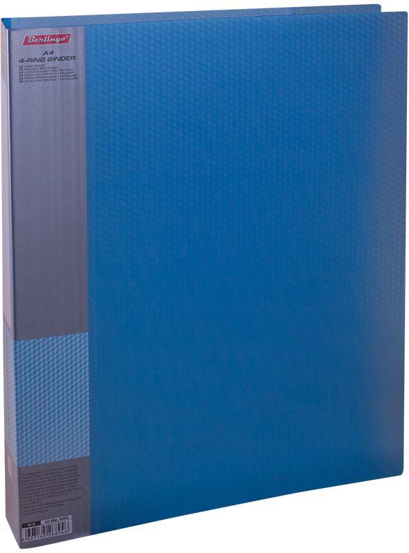 Berlingo Папка на 4-х кольцах Diamond цвет синийABp_44002Папка на 4-х кольцах Diamond для хранения перфорированных документов изготовлена из пластика. Кольцевой механизм надежно держит документы и файлы. В корешок папки вставляется лист для описания и названия. Классические офисные цвета в ассортименте. Обложка папки оформлена легким голографическим принтом в кубик.