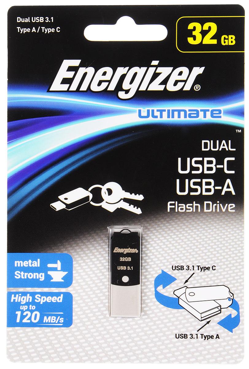 Energizer Ultimate Dual 32GB флэш-накопительFOTUCUO32RДвухсторонний флэш-накопитель Energizer Ultimate Dual идеально подходит для быстрого и удобного переноса фильмов, фотографий, музыки и файлов со смартфона с разъемом USB Тип C на персональный компьютер. Кабель или беспроводное соединение не требуются.