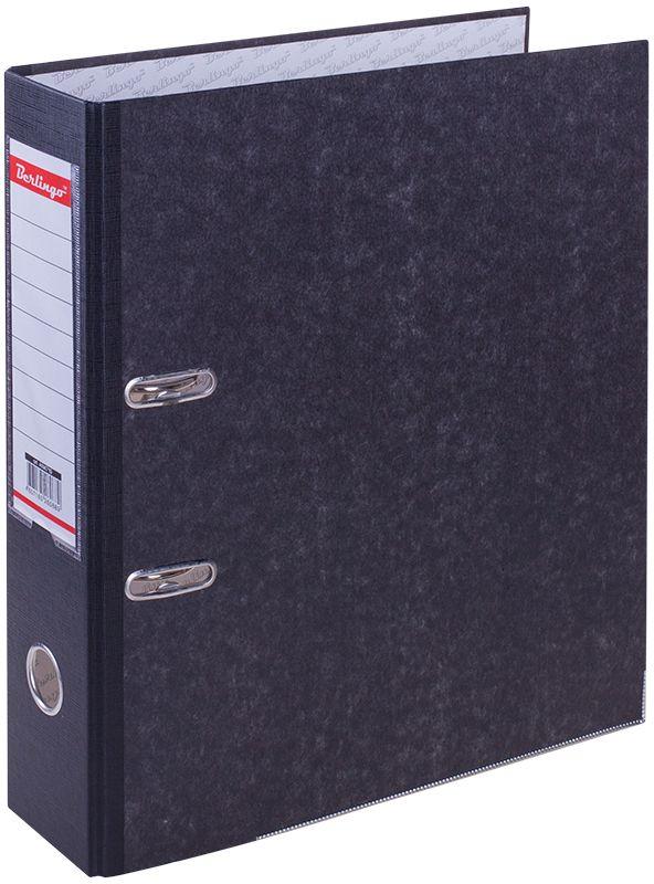 Berlingo Папка-регистратор цвет мраморный черный AM4710AM4710Папка-регистратор Berlingo с обложкой из жесткого износостойкого картона с односторонним покрытием из бумвинила. Конструкция разработана с учетом всех особенностей эксплуатации. Выгодно отличается надежным арочным механизмом из качественного металла, наличием кармана на корешке со сменным информационным ярлыком для маркировки, полем для записей на внутренней стороне обложки, отверстием для удобного снятия папки с полки.