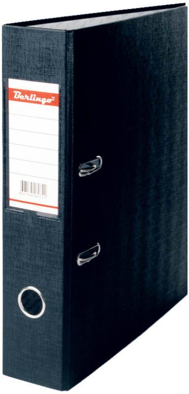 Berlingo Папка-регистратор цвет черный AM4510AM4510Папка-регистратор Berlingo выполнена в черном цвете. Обложка папки изготовлена из жесткого износостойкого картона с односторонним покрытием из бумвинила. Конструкция разработана с учетом всех особенностей эксплуатации. Выгодно отличаются надежным арочным механизмом из качественного металла, наличием кармана на корешке со сменным информационным ярлыком для маркировки, полем для записей на внутренней стороне обложки, отверстием для удобного снятия папки с полки.