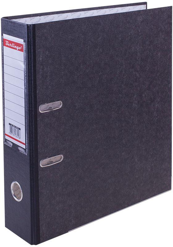 Berlingo Папка-регистратор цвет мраморный черный ATm_79101ATm_79101Папка-регистратор Berlingo с арочным механизмом из жесткого износостойкого картона с односторонним покрытием из специальной ламинированной бумаги популярной офисной расцветки под мрамор. Эффективно экономит офисное пространство, идеальны для создания архива. Конструкция разработана с учетом всех особенностей эксплуатации. Выгодно отличаются надежным арочным механизмом из качественного металла, наличием кармана на корешке со сменным информационным ярлыком для маркировки, полем для записей на внутренней стороне обложки, отверстием для удобного снятия папки с полки.