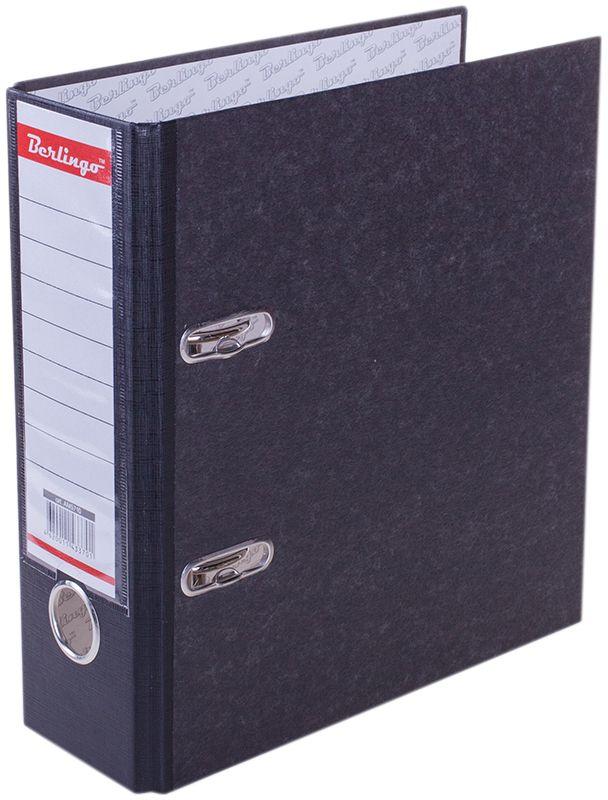 Berlingo Папка-регистратор цвет мраморный черный формат А5AM5710Папка-регистратор Berlingo с арочным механизмом из жесткого износостойкого картона с односторонним покрытием из специальной ламинированной бумаги популярной офисной расцветки под мрамор. Эффективно экономит офисное пространство, идеальны для создания архива. Конструкция разработана с учетом всех особенностей эксплуатации. Выгодно отличаются надежным арочным механизмом из качественного металла, наличием кармана на корешке со сменным информационным ярлыком для маркировки, полем для записей на внутренней стороне обложки, отверстием для удобного снятия папки с полки.