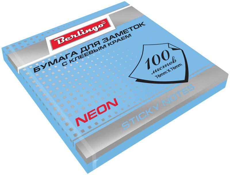 Berlingo Бумага для заметок с липким краем Neon 7,6 х 7,6 см цвет голубой 100 листовHN7676BNБумага для заметок с липким краем Berlingo - это удобное и практичное решение для быстрой записи информации дома или на работе.Блок бумаги с клеевым краем рассчитанный на крепление к любой поверхности, не оставляет следов. Блок имеет голубой неоновый цвет. Размер блока - 76 х 76 мм. В блоке 100 листов.