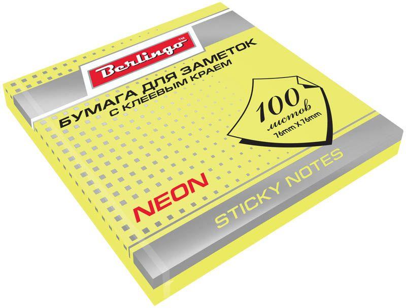 Berlingo Бумага для заметок с липким краем Neon 7,6 х 7,6 см цвет желтый 100 листовHN7676GeNБумага для заметок с липким краем Berlingo Neon - это удобное и практическое решение для быстрой записи информации дома или на работе.Блок бумаги с клеевым краем рассчитанный на крепление к любой поверхности, не оставляет следов. Блок имеет яркий желтый неоновый цвет. Размер блока - 76 х 76 мм. В блоке 100 листов.