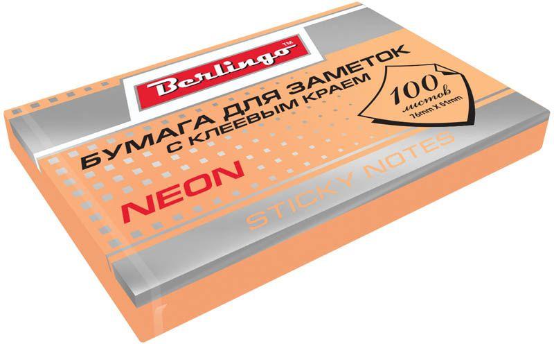 Berlingo Бумага для заметок с липким краем Neon 7,6 х 5,1 см цвет оранжевый 100 листовHN7651ORNБумага для заметок с липким краем Berlingo Neon - это удобное и практическое решение для быстрой записи информации дома или на работе.Блок бумаги с клеевым краем рассчитанный на крепление к любой поверхности, не оставляет следов. Блок имеет яркий неоновый оранжевый цвет. Размер блока - 76 х 51 мм. В блоке 100 листов.