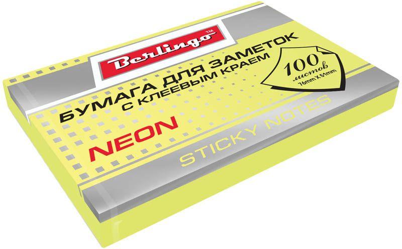 Berlingo Бумага для заметок с липким краем Neon 7,6 х 5,1 см цвет желтый 100 листовHN7651GeNБумага для заметок с липким краем Berlingo Neon - это удобное и практическое решение для быстрой записи информации дома или на работе.Блок бумаги с клеевым краем рассчитанный на крепление к любой поверхности, не оставляет следов. Блок имеет яркий неоновый желтый цвет. Размер блока - 76 х 51 мм. В блоке 100 листов.