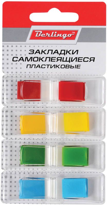 Berlingo Блок-закладка с липким слоем 1,2 х 4,5 см 35 листовLSz_45124Многоразовые пластиковые закладки Berlingo с липким слоем - эффективный способ выделить важную информацию без повреждения поверхности документа или книги.В комплекте 35 листов 4 цветов - желтого, голубого, зеленого и красного.