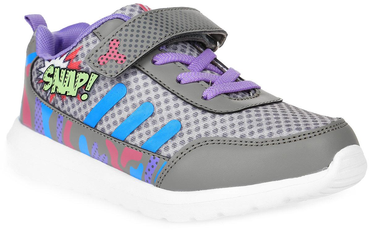 Кроссовки для девочки Kakadu, цвет: серый. 6804A. Размер 316804AСтильные кроссовки от Kakadu - отличный выбор для вашей девочки на каждый день. Верх модели выполнен из синтетической кожи и текстиля. Кроссовки оформлены красочным принтом и надписями.Ремешок с застежкой-липучкой и шнуровка обеспечивают надежную фиксацию обуви на ноге. Ярлычок на заднике облегчает обувание. Подкладка из текстильного материала создает комфорт при носке. Съемная анатомическая стелька удобна в эксплуатации и позволяет быстро просушивать обувь. Облегченная подошва выполнена из ЭВА-материала.Рифление на подошве обеспечивает отличное сцепление с любой поверхностью.Модные и комфортные кроссовки - необходимая вещь в гардеробе каждого ребенка.