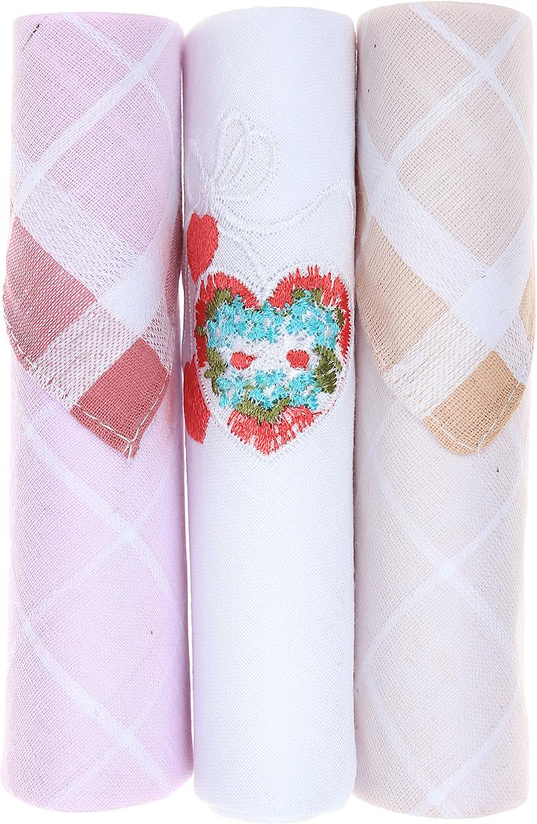 Платок носовой женский Zlata Korunka, цвет: розовый, белый, бежевый, 3 шт. 40423-14. Размер 28 см х 28 см