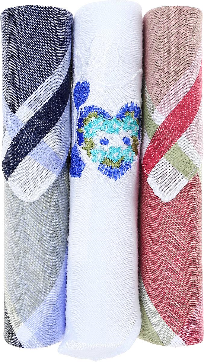 Платок носовой женский Zlata Korunka, цвет: темно-синий, коричневый, белый, 3 шт. 40423-4. Размер 28 см х 28 см