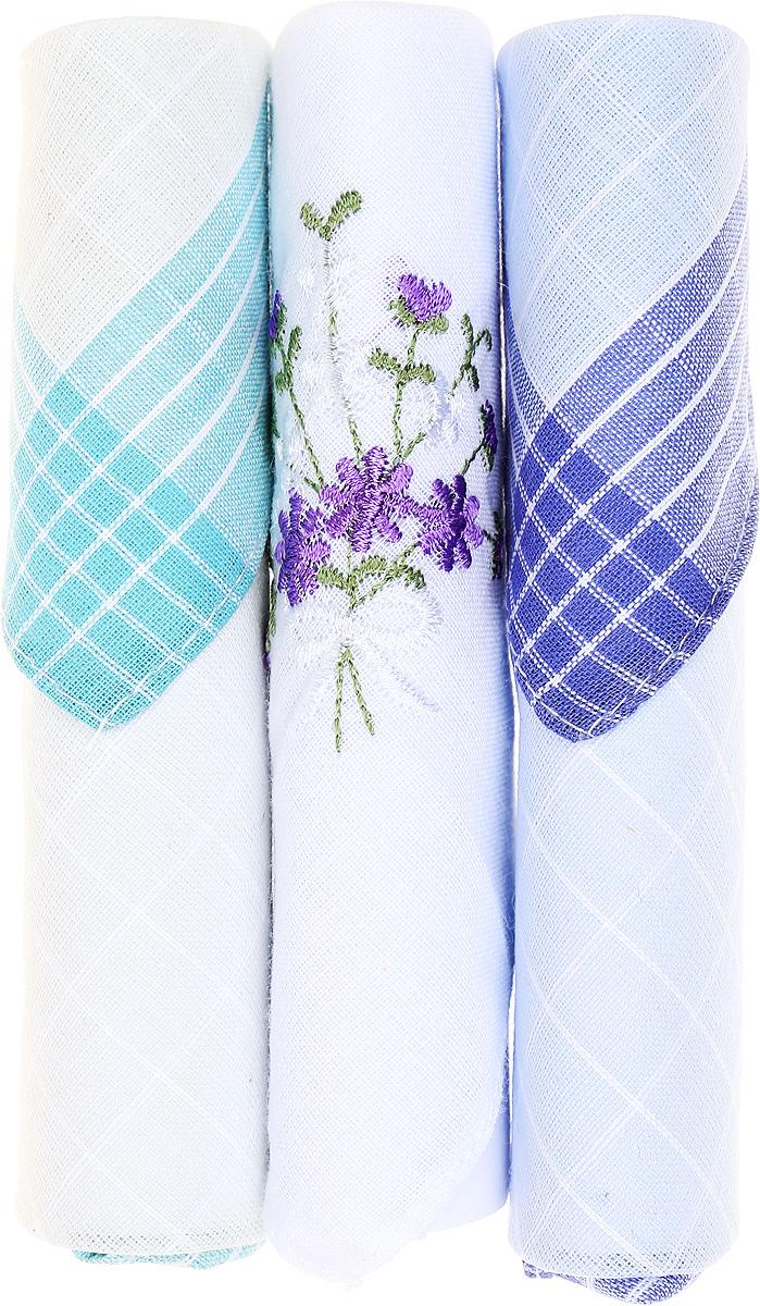 Платок носовой женский Zlata Korunka, цвет: бирюзовый, белый, голубой, 3 шт. 40423-70. Размер 28 см х 28 см