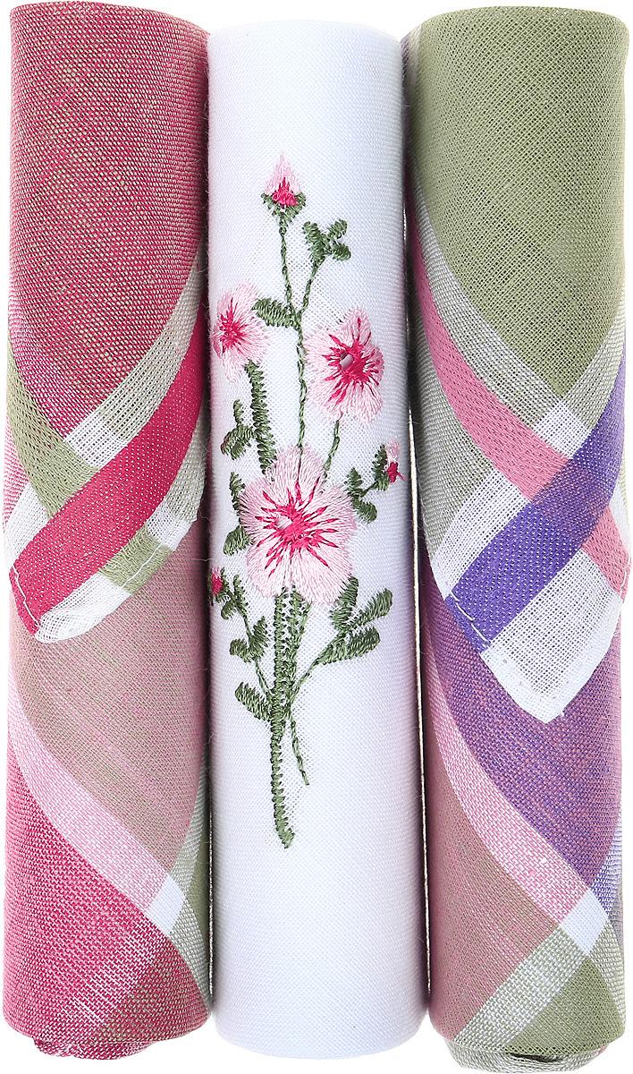 Платок носовой женский Zlata Korunka, цвет: бордовый, белый, зеленый, 3 шт. 40423-94. Размер 28 см х 28 см