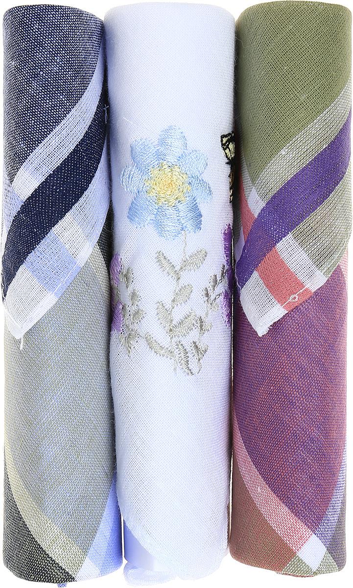 Платок носовой женский Zlata Korunka, цвет: темно-синий, коричневый, белый, 3 шт. 40423-39. Размер 28 см х 28 см