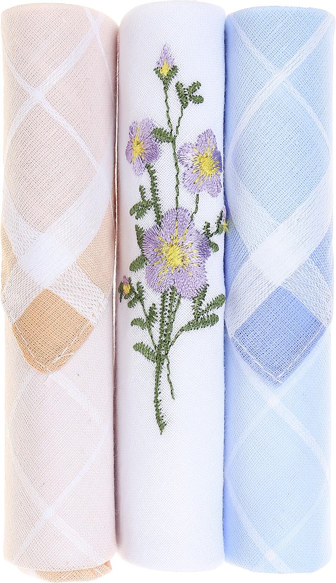Платок носовой женский Zlata Korunka, цвет: бежевый, белый, голубой, 3 шт. 40423-83. Размер 28 см х 28 см