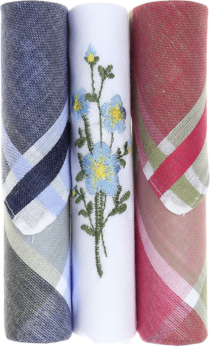 Платок носовой женский Zlata Korunka, цвет: темно-синий, белый, красный, 3 шт. 40423-96. Размер 28 см х 28 см